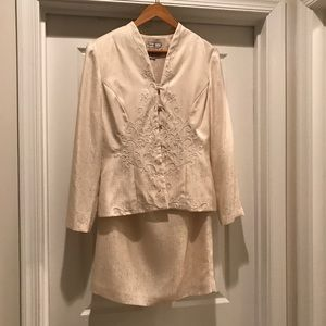 Adrianna Pappell Embroidered Skirt Suit